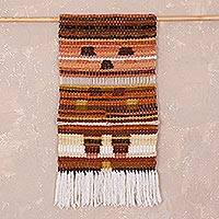 Wool tapestry, 'Andean Riddle' - Handwoven Geometric Wool Tapestry from Peru