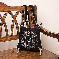 Suede shoulder bag, 'Mesmerizing Sun' - Black and Brown Suede Laser Cut Sun Motif Shoulder Bag