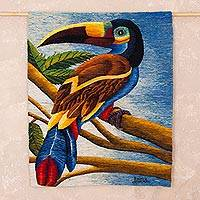 Wool tapestry, 'Welcome to Paradise' - Handwoven Wool Tapestry of a Tropical Bird from Peru
