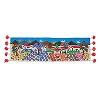 Cotton blend table runner, 'Walk Through the Mountains' - Cotton Blend Andean Village Arpillera Table Runner from Peru