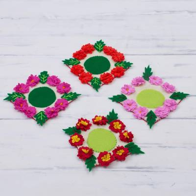 Cotton blend coasters, 'Lively Flowers' (set of 4) - Handmade Floral Cotton Blend Coasters from Peru