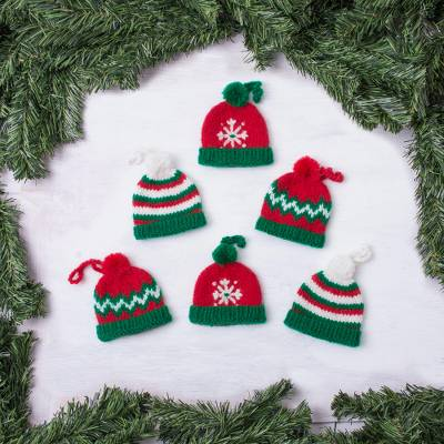 Christmas Hats.Hand Crocheted Christmas Themed Ornaments Set Of 6 Sweet Christmas Hats