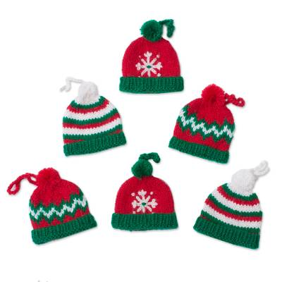 Hand-Crocheted Christmas-Themed Ornaments (Set of 6)