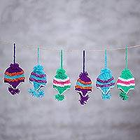 Acrylic ornaments, 'Snow Day' (set of 6) - Assorted Colors Miniature Hand Knit Hat Ornaments (Set of 6)