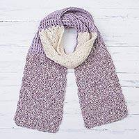 100% alpaca scarf, 'Lilac and Cream' - Hand Knit 100% Baby Alpaca Dusty Lilac and Cream Scarf