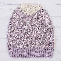 100% baby alpaca knit hat, 'Lilac and Cream' - Hand Knit 100% Baby Alpaca Dusty Lilac and Cream Hat