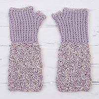100% baby alpaca fingerless gloves, 'Lilac and Cream' - Hand Knit Baby Alpaca Lilac and Cream Fingerless Gloves