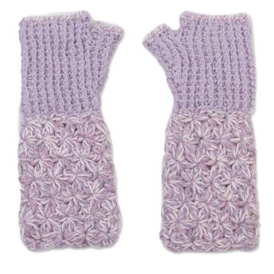 Hand Knit Baby Alpaca Lilac and Cream Fingerless Gloves