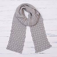 100% alpaca scarf, 'Dove Feather' - Hand Knit Dove Grey 100% Alpaca Multi-Textured Scarf