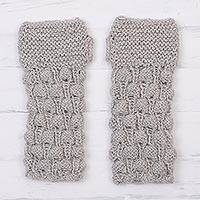 100% alpaca fingerless gloves, 'Dove Feather' - Hand Knit Dove Grey Alpaca Multi-Textured Fingerless Gloves