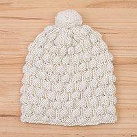 100% alpaca knit cap, 'Milky River' - Hand Knit Antique White 100% Alpaca Multi-Textured Hat