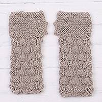 100% alpaca fingerless gloves, 'Windswept Dunes' - Hand Knit Taupe Alpaca Multi-Textured Fingerless Gloves