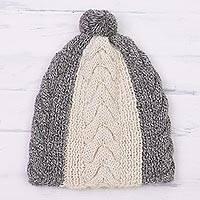 100% alpaca knit cap, 'Sunbeam Through the Clouds' - Hand Knit Smoke Grey and Cream 100% Alpaca Textured Hat