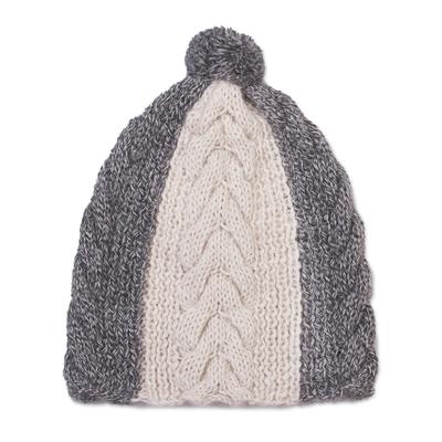 Hand Knit Smoke Grey and Cream 100% Alpaca Textured Hat