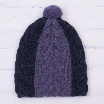 100% alpaca knit cap, 'Blueberry Orchard' - Hand Knit Navy and Iris Blue 100% Alpaca Textured Hat
