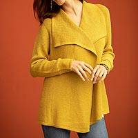 Alpaca blend sweater jacket, 'Filtered Sunlight' - Mustard Brown Alpaca Blend Shawl Collar Cardigan Sweater