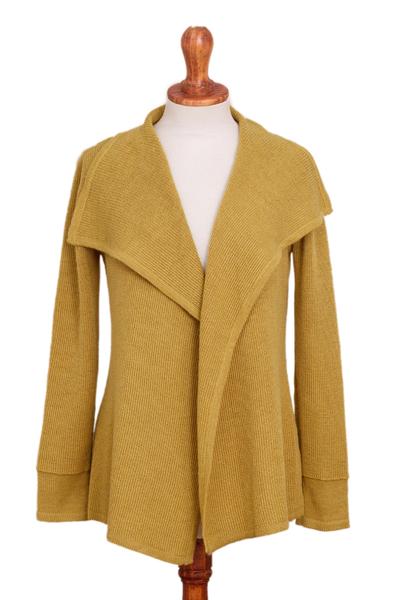 Unicef Market Mustard Alpaca Blend Shawl Collar Cardigan Sweater