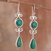 Chrysocolla dangle earrings, 'Vintage Drops' - Natural Chrysocolla Dangle Earrings from Peru