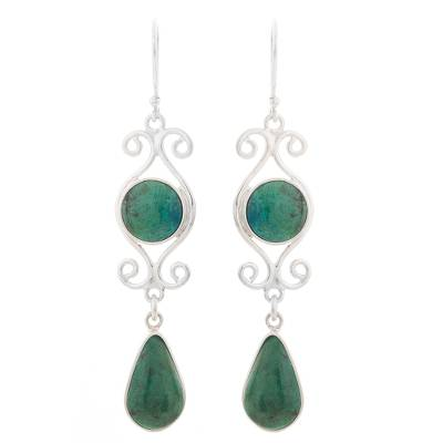 Natural Chrysocolla Dangle Earrings from Peru