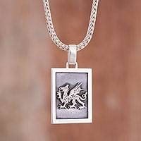 Sterling silver pendant necklace, 'Dragon Dream'