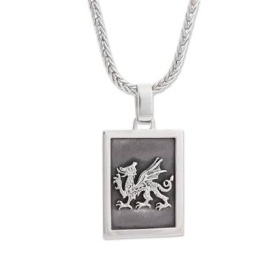 Sterling silver pendant necklace, 'Dragon Dream' - Sterling Silver Dragon Pendant Necklace from Peru