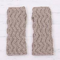 100% alpaca fingerless gloves, 'Sound Waves' - Hand Knit Taupe Cable Pattern Alpaca Fingerless Gloves