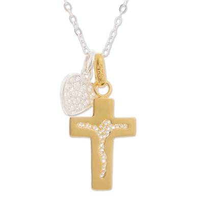 Gold accent sterling silver filigree pendant necklace, 'Our Golden Father' - 24k Gold Accent Sterling Silver Filigree Cross Necklace