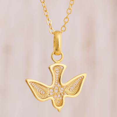 Gold plated sterling silver filigree pendant necklace, 'Gold Divine Dove' - Gold Plated Sterling Silver Filigree Dove Pendant Necklace