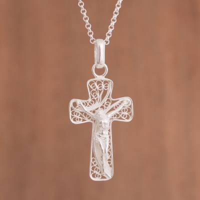 27126917215f Sterling Silver Filigree Crucifix Pendant Necklace from Peru - The ...