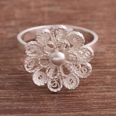 Sterling silver filigree cocktail ring, 'Exquisite Blossom' - Sterling Silver Filigree Flower Cocktail Ring from Peru
