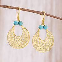 Gold plated sterling silver filigree dangle earrings, 'Golden World' - 24k Gold Plated Sterling Silver Filigree Dangle Earrings