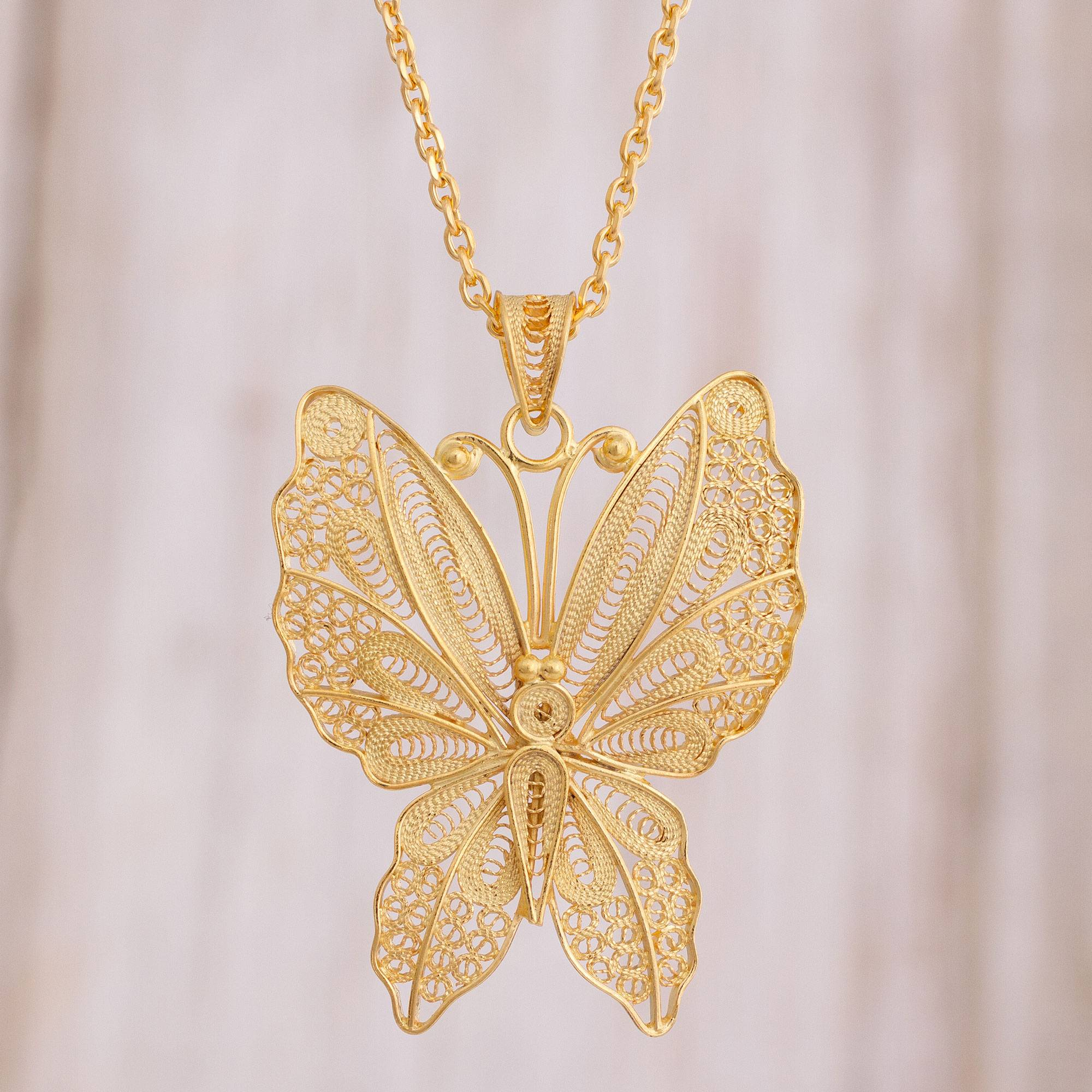 38d9cf7fc254d Gold Plated Sterling Silver Filigree Butterfly Necklace, 'Gold Butterfly'