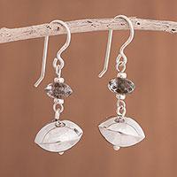 Quartz dangle earrings, 'Glistening Seeds' - Quartz and Sterling Silver Dangle Earrings from Peru