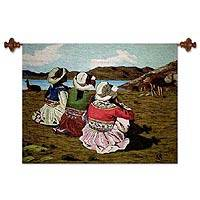 Wool tapestry, 'Shepherd Girls of Colca' - Wool tapestry