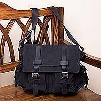 Leather accented cotton messenger bag, 'Journey to Manu in Black' - Leather Accented Roomy Canvas Messenger Bag in Black