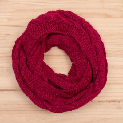 Knit infinity scarf, 'Cherry Twist' - Patterned Knit Infinity Scarf in Cherry from Peru