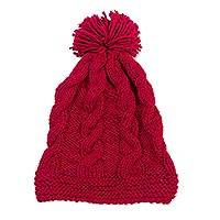 Knit hat, 'Cherry Twist' - Patterned Knit Hat in Cherry from Peru