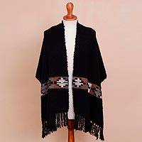 Alpaca blend shawl, 'Desert Night' - Handwoven Alpaca Blend Shawl in Black from Peru