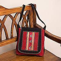 Suede shoulder bag, 'Llama Path' - Handcrafted Llama Motif Crimson and Black Suede Shoulder Bag
