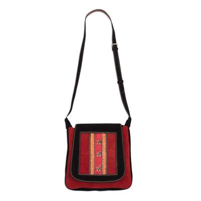 Handcrafted Llama Motif Crimson and Black Suede Shoulder Bag