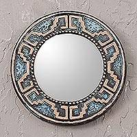 Copper wall mirror, 'Tiwanaku Lines' - Handmade Circular Wall Mirror with Oxidized Copper