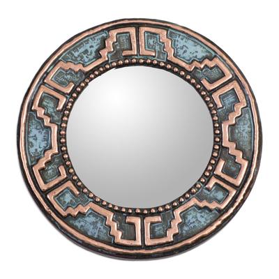 Copper wall mirror, 'Tiwanaku Lines' - Handmade Circular Wall Mirror with Oxidized Copper