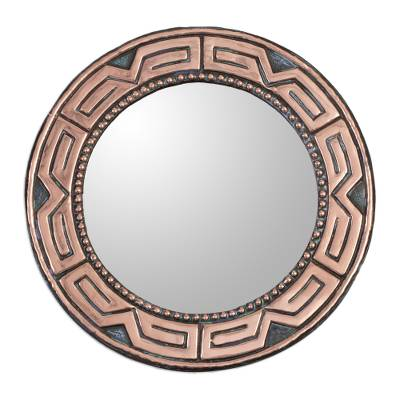 Copper and bronze wall mirror, 'Tiwanaku Form' - Round Bronze and Copper Wall Mirror from Peru