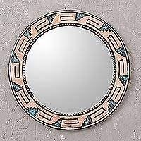Copper mirror, 'Tiwanaku Steps' - Circular Copper Wall Mirror with Pre-Hispanic Motifs