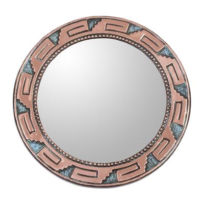 Copper and bronze wall mirror, 'Tiwanaku Steps' - Circular Copper Wall Mirror with Pre-Hispanic Motifs