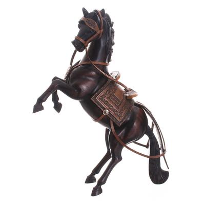 Cedar Wood Hand Carved Spirited Horse Sculpture from Peru