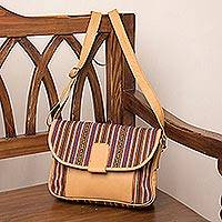 Leather accent wool blend sling, 'Woven Sophistication' - Honey Brown Striped Wool Blend Leather Accent Shoulder Bag
