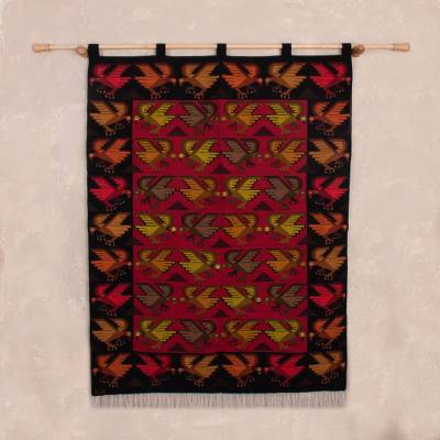 Wool tapestry, 'Flock of Condors' - Handwoven Condor Motif Wool Tapestry from Peru