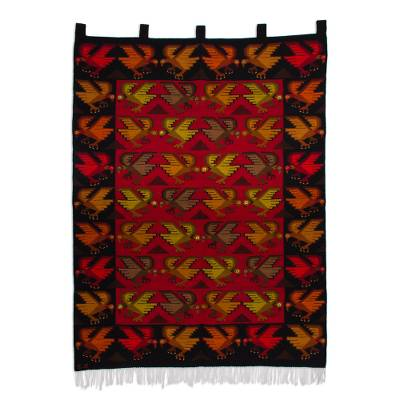 Handwoven Condor Motif Wool Tapestry from Peru