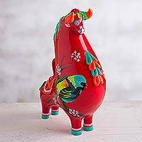 Resin figurine, 'Nature's Bull' - Red and Colorful Bird and Floral Motif Resin Bull Figurine